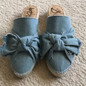 Sam Edelman LYNDA denim slides w/ bow NWOT 🎀🎊